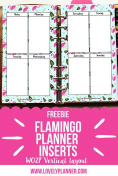 Free printable planner inserts : grab this cute flamingo WO2P vertical layout inserts for personal size planner. More freebies on lovelyplanner.com