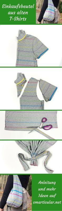 Einfacher kann Upcycling kaum sein! Ganz ohne Nähen machst du aus einem alten Shirt einen schicken Einkaufsbeutel.
