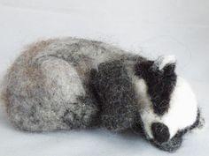 Sleeping Badger Needle Felt Kit Makes 2 sleeping badgers approx long Contains wool, colour instructions, felting needles, foam mat Suitable for crafty b Needle Felted Animals, Felt Animals, Woodland Creatures, Woodland Animals, Sleeping Animals, Needle Felting Tutorials, Honey Badger, Felt Birds, Animal Projects