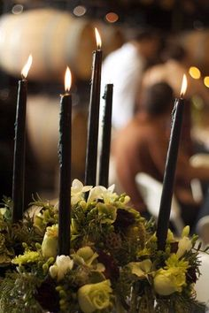 Black candles. I'll probs use moss rather than succulents.