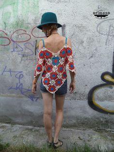 Crochet flowery blouse by O R I M O N O - back. Like me here! :) https://www.facebook.com/ORIMONO.reczna.praca.awaryjna