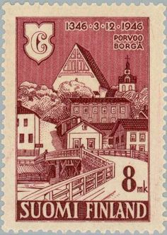 600 Years City of Porvoo Stamp Collecting, Postage Stamps, Finland, Postcards, Vintage World Maps, My Favorite Things, History, City, Places