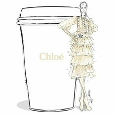 Chloe designer coffee illustration by Megan Hess Megan Hess Illustration, Dress Illustration, Fashion Illustration Sketches, Coffee Illustration, Beauty Illustration, Fashion Model Sketch, Fashion Design Sketches, Fashion Prints, Fashion Art