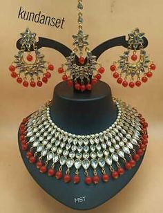 This jewelry set include 1 Choker Necklace, 1 Mang Tikka and 1 Pair of Earrings. Indian Jewellery Online, Indian Jewelry, Red Choker Necklace, Indian Bollywood, Bridal Jewelry Sets, Indian Bridal, Chokers, Wedding Dresses, Gold