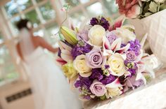 Lavender and White flowers with Stargazer Lilies