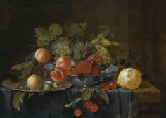 Jan Davidsz. de Heem UTRECHT 1606 - 1683/4 ANTWERP STILL LIFE OF FRUIT ON A PEWTER PLATE AND IN A WAN-LI KRAK PORCELAIN BOWL, A PARTIALLY PEELED LEMON AND A SPRIG OF CHERRIES ON A TABLE DRAPED WITH A GOLD-HEMMED CLOTH signed lower right on the edge of the table: J. D. de Heem f. oil on panel