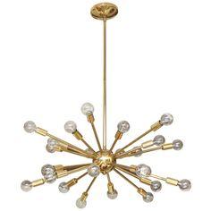 "24 Light Starburst Chandelier by Majestic 1960s 29""d"