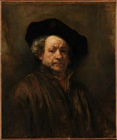 Rembrandt (Rembrandt van Rijn) (Dutch, 1606–1669). Self-Portrait, 1660. The Metropolitan Museum of Art, New York. Bequest of Benjamin Altman, 1913 (14.40.618) | The dozen or more self-portraits that date from each decade of Rembrandt's career vary considerably in composition, expression and technique. In the late examples, the broad applications of paint convey a candid record of the artist's aging features.