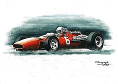 1966 Ferrari 312 F1,  John Surtees,  Ludovico Scarfiotti,  Lorenzo Bandini,  Ferrari F1 collection ART by Artem Oleynik. This collection demonstrating Ferrari F1 racing cars since 1950 to 2016 and includes 96 pictures in oil on canvas. The size of each original picture is 25 x 35 cm.