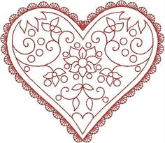 HEARTS Machine Embroidery Redwork design set of 20, 2 sizes