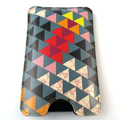 Leather iPhone (ALL) iTouch (ALL) case - Triangles design , Card slot.  tovicorrie  $40