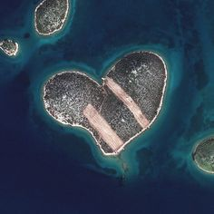 This is a satellite image of Heart Island, Galesnjak, Croatia, collected on Feb. 16, 2013. (Photo DigitalGlobe via Getty Images)