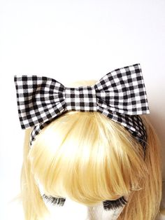 Lovely Retro Vintage Gingham Check black White Kids Bow Head Band :) Love Factory By Rie Miyamoto on Etsy, $13.00