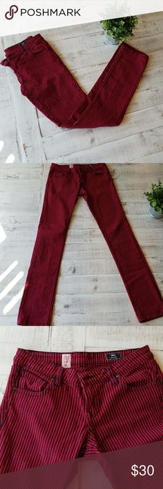 Volcom Striped Skinny Jeans These pants make a statement and it's a good one! These Volcom Stix pants are red and navy, and they are adorable! They fit extra long and feel amazing all day long! Hardly ever worn and in perfect condition. Hip to seam:39inches Volcom Jeans Skinny