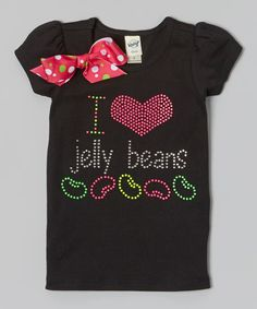 Look at this Rhinestone Fabuless Black 'I Love Jelly Beans' Bow Tee - Infant, Toddler & Girls on #zulily today!