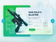 Star Wars / Han Solo's Blaster UI by Eray Yesilyurt Website Design Layout, Web Layout, App Ui Design, Page Design, Han Solo Blaster, Banner Design Inspiration, Card Ui, Mobile Application Design, Web Mockup