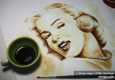 Marilyn Monroe portrait - Coffee Art by D. Veiga. by ~FastIcon on deviantART [painting made from coffee]    This image first pinned to Marilyn Monroe Art board, here: http://pinterest.com/fairbanksgrafix/marilyn-monroe-art/    #Art #MarilynMonroe