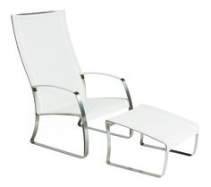 Seasonal Living - Kai Lounger and Ottoman - Designed around one of the most popular outdoor lounging chairs - The Adirondack.  An updated more sophisticated version.  Clear powder coated stainless steel frame wrapped upholstered in Serge Ferrari's French Batyline mesh - soft, breathable and supple - perfect for lounging in any climate.  Also available in Taupe.