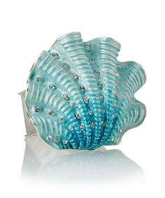 Ivory Coast Shell Napkin Ring - Turquoise - Set of 4