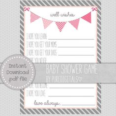 Pink Baby Shower, Printable Well Wishes For Baby, Baby Shower DIY, Pink Shower Invite, Girls Shower Invites, Baby Shower Prints