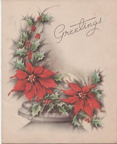 1950s Christmas Greetings Card Used Good shape holly