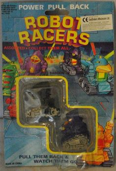 """ROBOT RACERS - Baboon & Skull Power Pull Back 2"""" Action Toys MOC RARE!!!"""