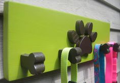 Dog Leash Holder Paw Bone Pet  Wooden Pet Collar by woodzcreations, $34.95