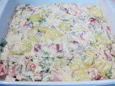 Budinca de cartofi cu piept de pui - Rețete Merișor Potato Salad, Potatoes, Meat, Chicken, Ethnic Recipes, Food, Potato, Meals, Cubs