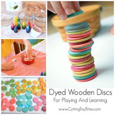 Dyed Wooden Discs For Playing and Learning Diy Toys homemade wooden children's toys Toddler Preschool, Toddler Toys, Diy Kid Toys, Diy Toys For Toddlers, Diy For Kids, Crafts For Kids, Easter Crafts, Diy Montessori Toys, Montessori Infant
