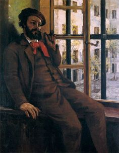 Self-Portrait at Sainte Pelagie, 1872-1873 by Gustave Courbet (French 1819-1877).....this shows the artist imprisoned and disgraced, but still sporting the symbolic red scarf of a Communard....