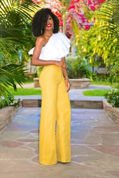 Style Pantry | One Shoulder Ruffle Top + High Waist Wide Leg Pants
