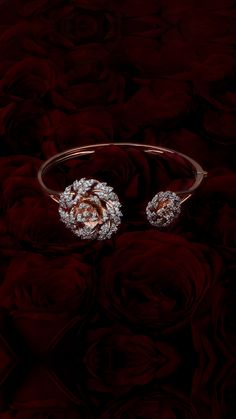The Rose rose gold cuff with diamond roses Antique Jewellery Designs, Gold Ring Designs, Gold Bangles Design, Gold Jewellery Design, Rose Gold Bangles, Diamond Jewellery, Indian Jewelry Earrings, Jewelry Design Earrings, Gold Earrings Designs