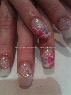 Pink and lilac flower nail art #nailart