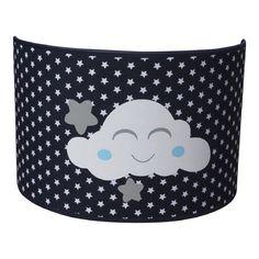 Wandlampje wolkje donkerblauw wolkje met blauwe wangetjes, ook verkrijgbaar met roze wangetjes. Kinderkamerverlichting marine blauw jongenskamer wolkjes wolken wolk kinderkamer babykamer