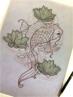 Lily Flower with Koi Fish Drawing Lily Flower with Koi Fish Drawing. Lily Flower with Koi Fish Drawing. I Honestly Like the Colors and Shades Outlines and Detail in lily flower drawing I honestly like the colors and shades outlines and detail Kunst Tattoos, Tattoos Skull, Bild Tattoos, Body Art Tattoos, Sleeve Tattoos, Circle Tattoos, Koi Fish Drawing, Fish Drawings, Tattoo Sketches