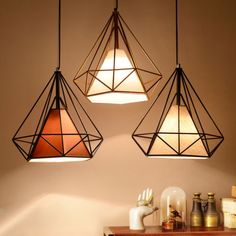 Modern Industrial Style Metal Wire Frame Ceiling Light Shades Diamond Cage Decor in Home, Furniture & DIY, Lighting, Lampshades & Lightshades Dining Room Lighting, Bedroom Lighting, Home Lighting, Lighting Design, Bedroom Ceiling, Ceiling Light Shades, Ceiling Lights, Metal Light Shades, Ceiling Decor