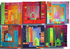 """""""Treehouse Series"""",  by Melody Johnson.  These are Mini Quilts, but carry a Super-Size Wow Factor..."""