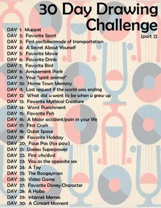 thirty day drawing challenge | One of a couple choices, to help me get inspired and excited!