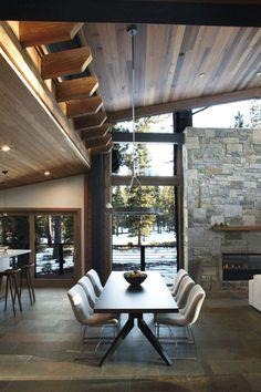 stone wall, wood ceiling, beams, floor-to-ceiling window