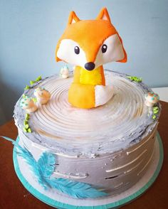 Woodland fox baby shower cake