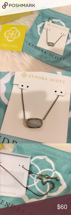 Kendra Scott Elisa Necklace Brand new Kendra Scott Elisa Necklace. 14k gold plated over brass. Antique brass with white banded agate stone. NO TRADES NO LOWBALLING Kendra Scott Jewelry Necklaces