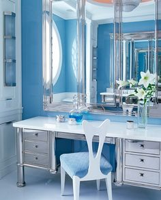 Bold Pastel Blue Bathroom Decoration with Modern Large Mirror Cheap and Affordable Accessories for Small Bathroom Ideas