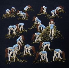 LA-based artist Michelle Kingdom embroiders small, illustrative scenes of people in curious mythological or ritualistic scenarios, engaged in unknown actions or in vaguely defined relationships. From her artist statement: My work explores psychological landscapes, illuminating thoughts left unspo