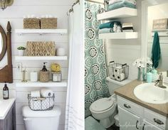 Small bathrooms can really be cozy and nice, you just have to buy the appropriate furniture and organize it in the right way. You'll see that your tiny bathroom will turn into a big one with the help of a few tricks. Shanty 2 Chic, Tiny Bathrooms, Tiny House Bathroom, Bathroom Cupboards, Bathroom Medicine Cabinet, Bath Panel Storage, Lavabo D Angle, Style At Home, Corner Sink