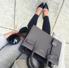 wool long grey coat, sunglasses, skinny black jeans, black pumps shoes heels, grey handbag, fashion, street fashion