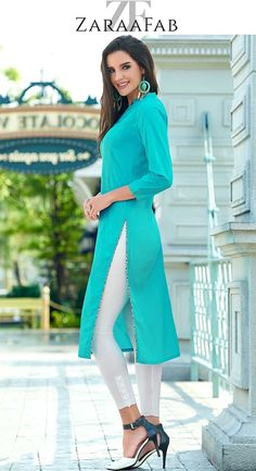 Buy women turquoise blue color regular fit kurti online at best price. Explore huge range of latest designer kurtis, long kurtis for women and indian kurti from wide range of options available at our online shopping store. #womenkurtis #turquoisebluekurti #regularfitkurti #cottonkurti #bluekurta #plainkurti #onlineshopping #kurtitunics #indianwear #asianclothes