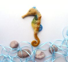 Seahorse  Needle Felted soft sculpture  felt toy marine by WoolPaw