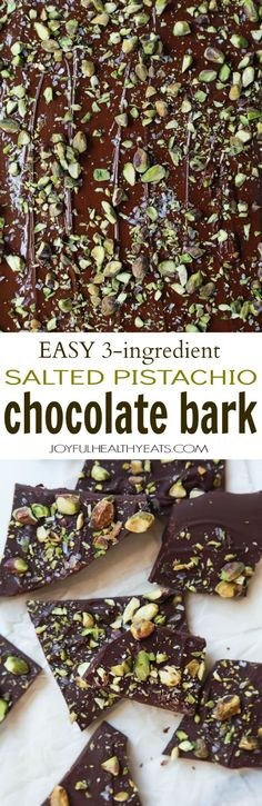 Easy to make 3-ingredient Salted Pistachio Chocolate Bark - this bark recipe is done in just 5 minutes and can easily be jazzed up with different flavors if you'd like. Makes a great holiday gift or tasty late night snacking! | joyfulhealthyeats.com