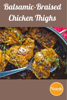 """""""Balsamic Braised Chicken Thighs"""".....Could definitely use Mussini's Balsamic Vinegar line with this recipe! Find balsamic products here: http://www.gourmetimportshop.com/Mussini-Balsamic-Vinegar-s/2.htm"""