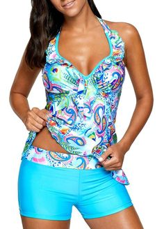 Blue Open Back Printed Padded Tankini #Set on sale only… Blue Tankini, Vintage Swimsuits, Plus Size Swimsuits, Modest Swimsuits, Beachwear, Swimwear, Spaghetti, Swim Dress, Bikini Fashion